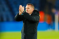 4th March 2020; King Power Stadium, Leicester, Midlands, England; English FA Cup Football, Leicester City versus Birmingham City; Leicester City Manager Brendan Rodgers applauds the home fans after the final whistle