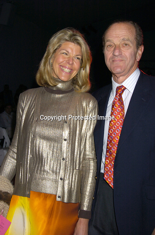 Jamee Gregory and husband Peter Gregory ..at the Zang Toi Fall 2005 Fashion Show on February 5, 2005 at Bryant Park. ..Photo by Robin Platzer, Twin Images