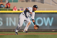 Lake County Captains second baseman Jose Ramirez #10 fields a ground ball during a game against the Dayton Dragons at Fifth Third Field on June 25, 2012 in Dayton, Ohio. Lake County defeated Dayton 8-3. (Brace Hemmelgarn/Four Seam Images)