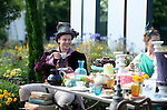 `<br /> A Tea party Celebrating 150 years since Lewis Carroll's  Alice's adventures in Wonderland was first published<br /> at the RHS Hampton Court Flower show. <br /> <br /> Bethany Clarke / RHS / London 29.6.15