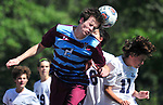 DeSmet's Thomas Redmond (left) and Francis Howell Centreal's Tanner Jones leap for a header. DeSmet defeated Francis Howell Central 2-1 on Saturday September 14, 2019.<br /> Tim Vizer/Special to STLhighschoolsports.com