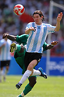 Lionel Messi Argentina and Onyekachi Apam of Nigeria during the Olympic Games final. Argentina beats Nigeria 1-0 and won the gold medal <br /> National Indoor - Bird Nest - Football - Calcio<br /> Pechino - Beijing 23/8/2008 Olimpiadi 2008 Olympic Games<br /> Foto Andrea Staccioli Insidefoto