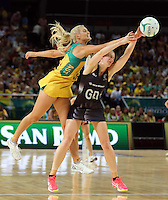 09.10.2016 Silver Ferns Katrina Grant and Australia's Gretal Tippett in action during the Silver Ferns v Australia netball test match played at Qudos Bank Arena in Sydney. Mandatory Photo Credit ©Michael Bradley.