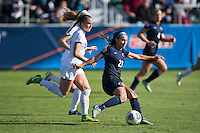 Cary, North Carolina - Sunday December 6, 2015: Nickolette Driesse (23) of the Penn State Nittany Lions kicks the ball during second half action against the Duke Blue Devils at the 2015 NCAA Women's College Cup at WakeMed Soccer Park.  The Nittany Lions defeated the Blue Devils 1-0.