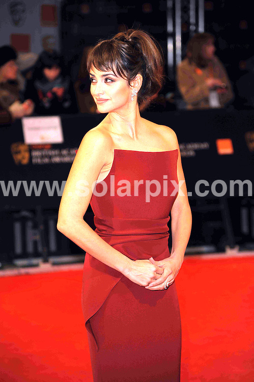**ALL ROUND PICTURES FROM SOLARPIX.COM**                                             **WORLDWIDE SYNDICATION RIGHTS**                                                                                  Caption: Orange British Academy Film Awards at The .Royal Opera House in Covent Garden London                                                                              This pic:  Penelope Cruz                                                                         JOB REF:14467        MSR       DATE: 12.02.2012                                                           **MUST CREDIT SOLARPIX.COM OR DOUBLE FEE WILL BE CHARGED**                                                                      **MUST AGREE FEE BEFORE ONLINE USAGE**                               **CALL US ON: +34 952 811 768 or LOW RATE FROM UK 0844 617 7637**
