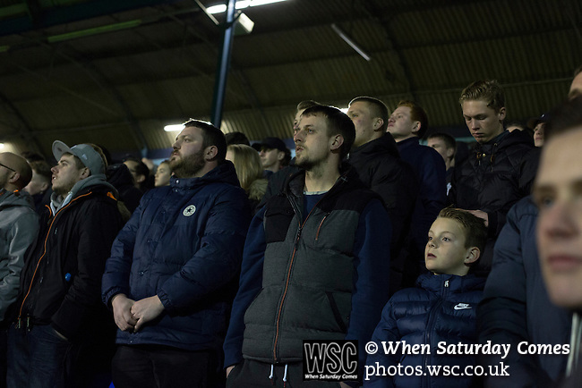 Southend United 1 Burton Albion 1, 22/02/2016. Roots Hall, League One. Home supporters in the west stand watching the final few minutes of the match as Southend United took on Burton Albion in a League 1 fixture at Roots Hall. Founded in 1906, Southend United moved into their current ground in 1955, the construction of which was funded by the club's supporters. Southend won this match by 3-1, watched by a crowd of 6503. Photo by Colin McPherson.