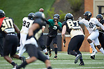 Wake Forest Black Team quarterback Kendall Hinton (2) passes the ball during the Wake Forest Football Spring Game at BB&T Field on April 7, 2018 in Winston-Salem, North Carolina.  The Gold Team defeated the Black Team 26-6.  (Brian Westerholt/Sports On Film)