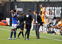 4th July 2020; Craven Cottage, London, England; English Championship Football, Fulham versus Birmingham City; Referee Keith Stroud giving a warning to Fulham Manager Scott Parker after Joshua Onomah of Fulham scored his sides 1st goal in the 96th minute to make it 1-0