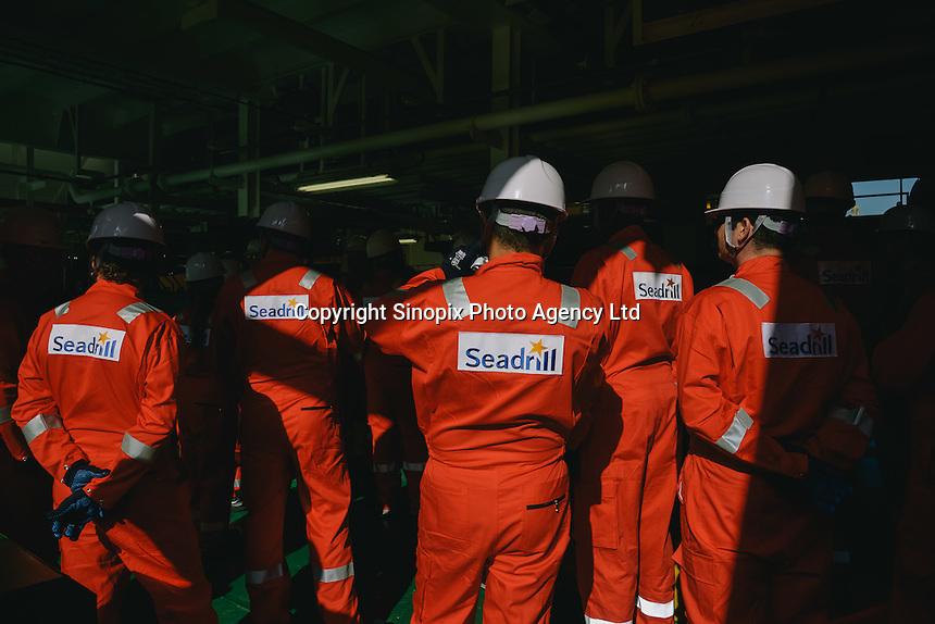 A Sail-away of an Oil Rig at Samsung Heavy Industries Shipyard, Geoje, Korea, 2014.