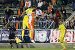 02 May 2015: Tampa Bay's Stefan Antonijevic (SRB) (5) heads the ball over Carolina's Nacho Novo (ESP). The Carolina RailHawks hosted the Tampa Bay Rowdies at WakeMed Stadium in Cary, North Carolina in a North American Soccer League 2015 Spring Season match. The game ended in a 1-1 tie.