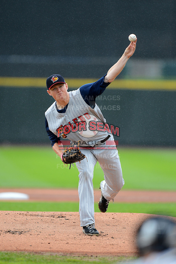 Toledo Mudhens pitcher Casey Crosby #24 during a game against the Rochester Red Wings on June 11, 2013 at Frontier Field in Rochester, New York.  Toledo defeated Rochester 9-5.  (Mike Janes/Four Seam Images)