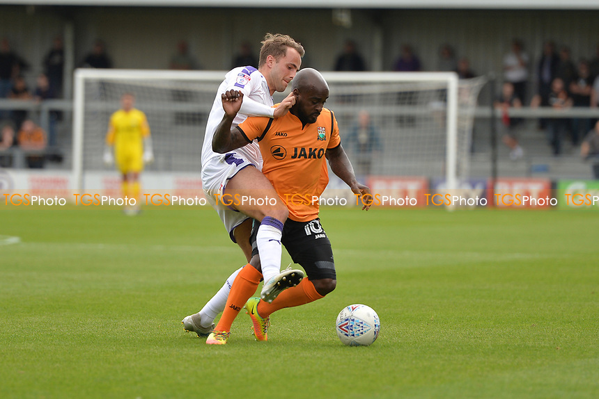 Jack Stacey of Luton Town tackles Jamal Campbell-Ryce of Barnet during Barnet vs Luton Town, Sky Bet EFL League 2 Football at the Hive Stadium on 12th August 2017