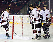 TJ Syner (UMass - 14), Chase Langeraap (UMass - 17), Kevin Moore (UMass - 30), ? - Sweden's Under-20 team played its last game on this Massachusetts tour versus the University of Massachusetts-Amherst Minutemen losing 5-1 on Saturday, November 6, 2010, at the Mullins Center in Amherst, Massachusetts.