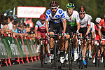 Polka Dot Jersey Thomas De Gendt (BEL) Lotto-Soudal approaches the finish line at the end of Stage 19 of the La Vuelta 2018, running 154.4km from Lleida to Andorra, Naturlandia, Andorra. 14th September 2018.                   <br /> Picture: Colin Flockton | Cyclefile<br /> <br /> <br /> All photos usage must carry mandatory copyright credit (© Cyclefile | Colin Flockton)