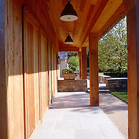 The generously proportioned porch is constructed from mellowed pine