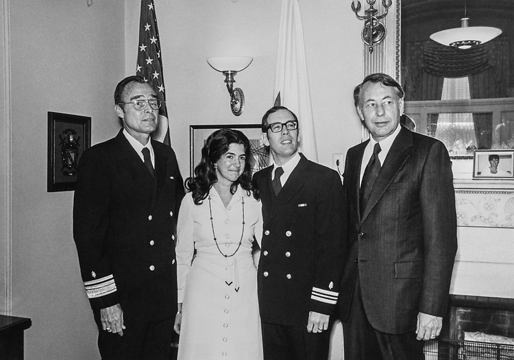 Sen. William Hathaway, D-Maine., Dr. Peter Black with his wife Katherine and Lt. Commander in 1978. (Photo by Dev O'Neill/CQ Roll Call)