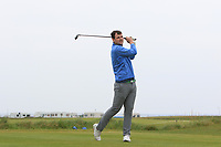 Jake Whelan (Newlands) on the 1st tee during Round 1of the Flogas Irish Amateur Open Championship 2019 at the Co.Sligo Golf Club, Rosses Point, Sligo, Ireland. 16/05/19<br /> <br /> Picture: Thos Caffrey / Golffile<br /> <br /> All photos usage must carry mandatory copyright credit (© Golffile | Thos Caffrey)
