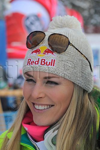 25.01.2015. St. Moritz, Switzerland. Lindsey Vonn of the USA  during the Audi FIS Ski World Cup Women's Super G  in St. Moritz