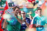 March 19, 2017: Roger Federer, SUI, holds up the trophy after defeating Stan Wawrinka, SUI, 6-4,7-5 in the finals at the PNB Paribas Open being played at the Indian Wells Tennis Garden in Indian Wells, California.  ©Mal Taam/Tennisclix