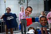A vendor selling cardboard Obama faces outside of Time Warner Cable Arena in Charlotte on Wednesday September 5th 2012.