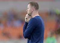 Houston, TX - Friday April 29, 2016: Sky Blue FC head coach Christy Holly watches the action on the field against the Houston Dash at BBVA Compass Stadium. The Houston Dash tied Sky Blue FC 0-0.