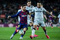 2nd February 2020; Camp Nou, Barcelona, Catalonia, Spain; La Liga Football, Barcelona versus Levante; Lionel Messi of FC Barcelona is challenged by Nunes Vezo of Levante