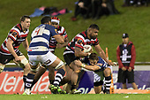 Pauliasi Manu makes a run at Jono Hickey. Mitre 10 Cup rugby game between Counties Manukau Steelers and Auckland played at ECOLight Stadium, Pukekohe on Saturday August 19th 2017. Counties Manukau Stelers won the game 16 - 14 and retain the Dan Bryant Memorial trophy.<br /> Photo by Richard Spranger.