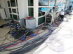 Olympia 2004 Athen Olympischer Kabelsalat im Schwimmstadion
