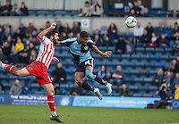 Rowan Liburd of Wycombe Wanderers goes close with a shot at goal during the Sky Bet League 2 match between Wycombe Wanderers and Stevenage at Adams Park, High Wycombe, England on 12 March 2016. Photo by Andy Rowland/PRiME Media Images.