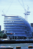 "Sir Norman Foster: London City Hall, viewed from Tower Bridge. 2002. Bulbous shape. Referred to as ""The Onion"".  Photo '05."
