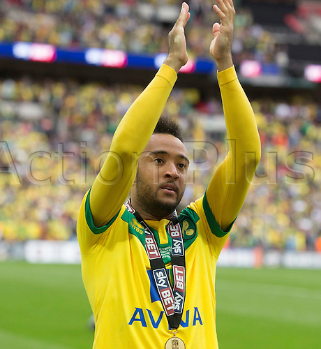 25.05.2015.  London, England. Skybet Championship Playoff Final. Middlesborough versus Norwich. Norwich City's Nathan Redmond thanks the fans at the final whistle.