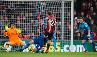 Ryan Fraser of AFC Bournemouth shot is blocked by Calum Chambers of Arsenal during the Premier League match between Bournemouth and Arsenal at the Goldsands Stadium, Bournemouth, England on 14 January 2018. Photo by Andy Rowland.
