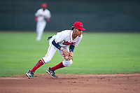 Orem Owlz shortstop Jeremiah Jackson (39) fields a ground ball during a Pioneer League game against the Ogden Raptors at Home of the OWLZ on August 24, 2018 in Orem, Utah. The Ogden Raptors defeated the Orem Owlz by a score of 13-5. (Zachary Lucy/Four Seam Images)