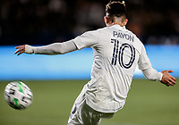 CARSON, CA - MARCH 07: Cristian Pavon #10 of the Los Angeles Galaxy sends a cross ball during a game between Vancouver Whitecaps and Los Angeles Galaxy at Dignity Health Sports Park on March 07, 2020 in Carson, California.