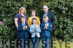 K J O Sullivan, Darragh O Sullivan, Ryan O Sullivan, Back L-R Parrela Dillane, Máire Healy, Fr Michael Moynilhan. Bonane School Communion at bonane church 12-5-2019