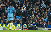 Manchester City Manager (Head Coach) Josep Guardiola lets Kelechi Iheanacho of Manchester City know his feelings during the UEFA Champions League GROUP match between Manchester City and Celtic at the Etihad Stadium, Manchester, England on 6 December 2016. Photo by Andy Rowland.