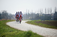 Team Katusha with race favorite Alexander Kristoff (NOR/Katusha)<br /> <br /> 2015 Paris-Roubaix recon