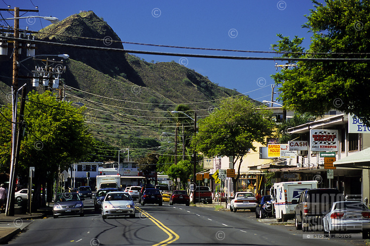 Looking down Kapahulu Avenue at Diamond Head, island of Oahu