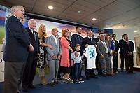 Daniel Ceballos, Real Madrid Football Club President, Florentino Perez and family of the player