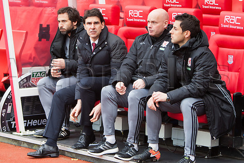 March 4th 2017,  bet365 Stadium, Stoke, England; EPL Premier League football, Stoke City versus Middlesbrough; Middlesbrough manager Aitor Karanka in the team dugout