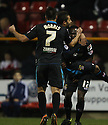 Francois Zoko of Stevenage is mobbed after scoring<br />  - Swindon Town v Stevenage - Johnstone's Paint Trophy - Southern Section Semi-final  - County Ground, Swindon - 10th December, 2013<br />  © Kevin Coleman 2013