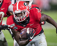 ATHENS, GA - OCTOBER 19: Richard LeCounte #2 of the Georgia Bulldogs runs with a fumble recovery during a game between University of Kentucky Wildcats and University of Georgia Bulldogs at Sanford Stadium on October 19, 2019 in Athens, Georgia.