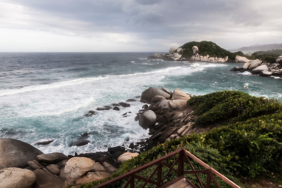 View of the Caribbean coast from a camping area in Tayrona National Park near Santa Marta, Colombia.  The park is one of the most popular tourist destinations on Colombia's Caribbean coast.