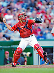 28 August 2010: Washington Nationals catcher Ivan Rodriguez in action against the St. Louis Cardinals at Nationals Park in Washington, DC. The Nationals defeated the Cards 14-5 to take the third game of their 4-game series. Mandatory Credit: Ed Wolfstein Photo