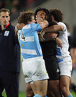 Argentina's Gonzalo Camacho tussles with Ma'a Nonu during the Rugby Championship international rugby test match between the All Blacks and Argentina at Westpac Stadium, New Zealand on Saturday, 8 September 2012. Photo: Dave Lintott / lintottphoto.co.nz