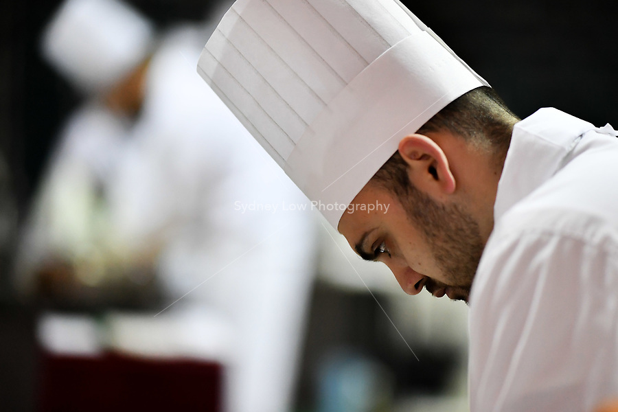 Melbourne, 30 May 2017 - Daniel Soto of the Montague Hotel in South Melbourne prepares the meat at the Australian selection trials of the Bocuse d'Or culinary competition held during the Food Service Australia show at the Royal Exhibition Building in Melbourne, Australia. Photo Sydney Low