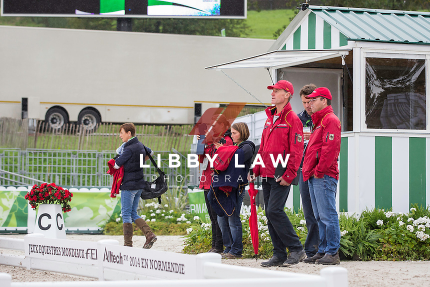 TEAM GERMANY DO THEIR ARENA FAMILIARISATION: EVENTING: The Alltech FEI World Equestrian Games 2014 In Normandy - France (Wednesday 27 August) CREDIT: Libby Law COPYRIGHT: LIBBY LAW PHOTOGRAPHY - NZL