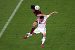 05 July 2006: Nuno Valente (POR) (14) heads the ball over Frank Ribery (FRA) (22). France defeated Portugal 1-0 at the Allianz Arena in Munich, Germany in match 62, the second semifinal game, in the 2006 FIFA World Cup.