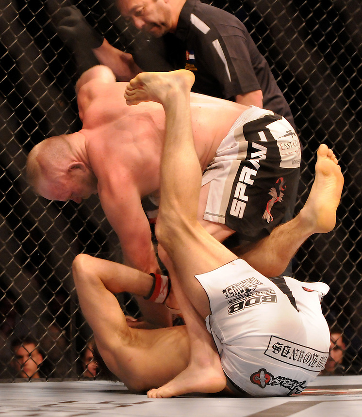 24 SEPTEMBER 2011:  Nick Ring punches Tim Boetsch   during UFC 135 at the Pepsi Center in Denver, Colorado. *****For Editorial Use Only*****