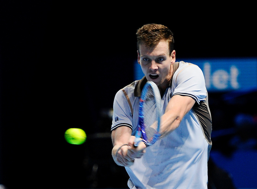 Tomas Berdych in action during his defeat to Kei Nishikori in their Stan Smith Group match today - Kei Nishikori def Tomas Berdych 7-5, 3-6, 6-3<br /> <br /> Photographer Ashley Western/CameraSport<br /> <br /> International Tennis - Barclays ATP World Tour Finals - O2 Arena - London - Day 3 - Tuesday 17th November 2015<br /> <br /> &copy; CameraSport - 43 Linden Ave. Countesthorpe. Leicester. England. LE8 5PG - Tel: +44 (0) 116 277 4147 - admin@camerasport.com - www.camerasport.com